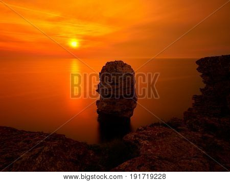 amazing summer sunset view over the sea