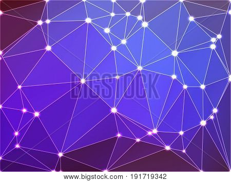 Purple Lilac Pink Geometric Background With Mesh And Lights