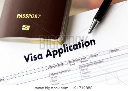 Visa Application Form To Travel Immigration A Document