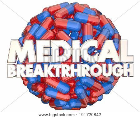 Medical Breakthrough Research Finding Pills Medicine 3d Illustration