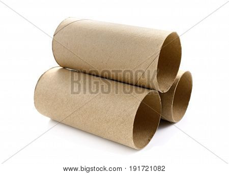 Paper roll of bathroom isolated on white background with clipping path