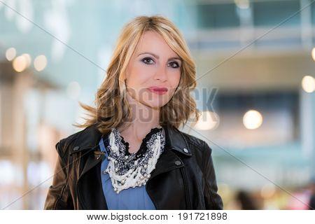 Portrait of blonde woman outdoor