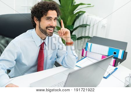 Creative businessman having an idea