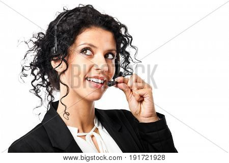Portrait of a beautiful female call center operator