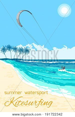 Sea kite on tropical sea background. Kite surfing summer watersport poster or flyer