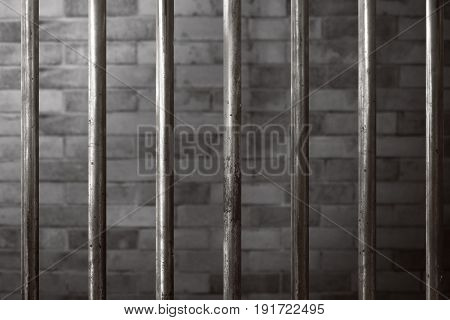 View of rusty old prison cell for criminal