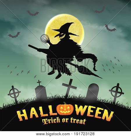 halloween silhouette flying witch in night graveyard