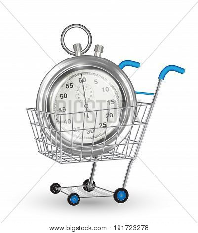real steel stopwatch on a shopping cart