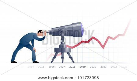Businessman with telescope explorating the future. Eps8. RGB Global colors