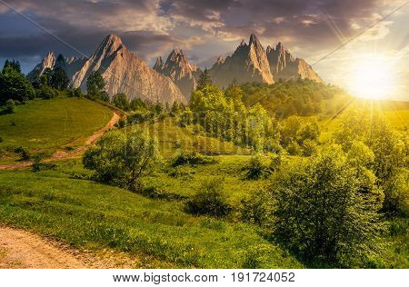 Composite summer landscape. Path through the forest on grassy hillside in High Tatras. beautiful summer weather with blue sky and some clouds at sunset