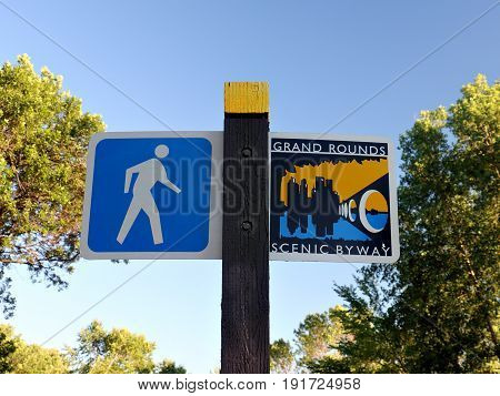 Sign Marking Walking Path along Lake Calhoun in Minneapolis Minnesota