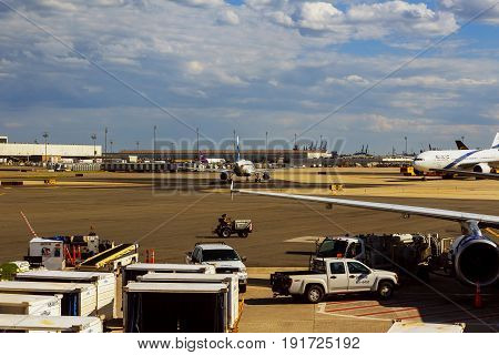 NEWARK, NJ - JUNE 07.17: Terminal A of Newark Liberty International Airport in New Jersey to aircraft of Continental and JetBlue