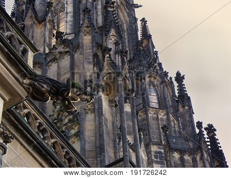 One of gargoyles of St. Vitus Cathedral Prague Czech Republic.