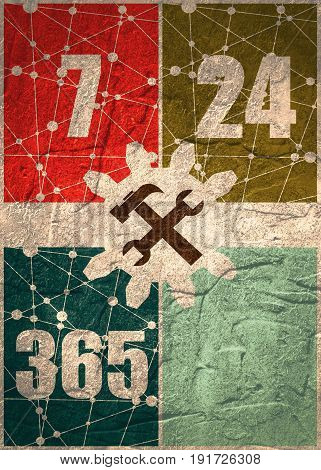 Cogwheel gear with wrench key. 24 hour 7 day customer support service. Connected lines with dots. Molecule And Communication Background. Grunge concrete texture