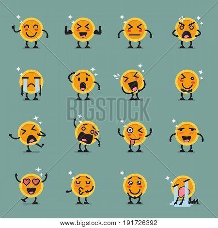 Coin character emoji set. Funny cartoon emoticons