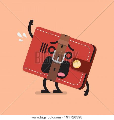 Funny wallet with a tight belt. Saving money emoji concept