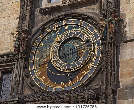 Prague Astronomical Clock (Orloj) with animated figures at Old Town City Hall in the Old Town Square.