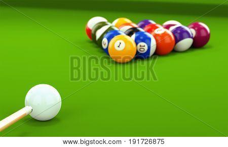 Billiard Cue And Pool Balls