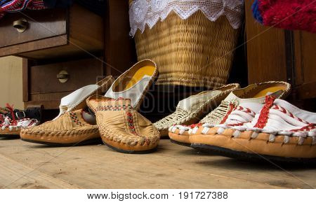 Frankfurt, Germany - June 6, 2017: Handmade Shoes At The Croatian Street Market, Frankfurt Am Main,