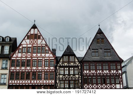 Frankfurt, Germany - June 4, 2017: Traditional German Decorated Houses At The Frankfurt Old Town Squ