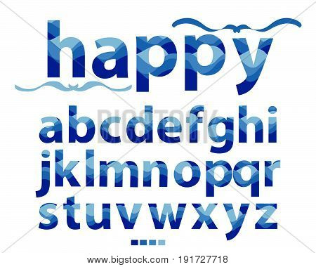 Vector of stylized lowercase letters blue font and alphabet, Abstract multi-colored rainbow design