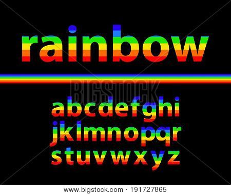 Set of rainbow colored alphabet lowercase letters with black background vector illustration