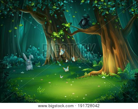 Vector cartoon illustration of background forest glade. Bright wood with hare butterflies and an owl in glasses. For design game websites and mobile phones printing.