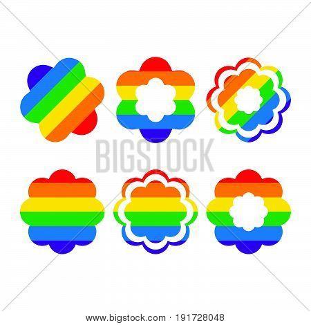 Design Elements rainbow shape icon, rainbow flower