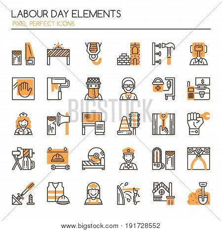 Labour day Elements Thin Line and Pixel Perfect Icons