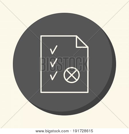 A document with checkmarks and a seal a vector circular line icon with illusion of volume a simple color change