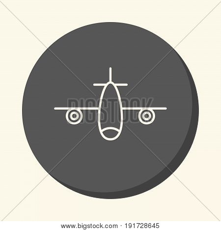 Airplane with two motors vector circular line icon with illusion of volume simple color change