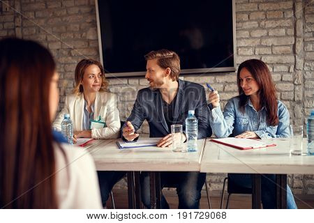 Discussion business people for job interview with candidate on meeting