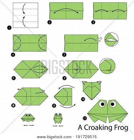 step by step instructions how to make origami A Croaking Frog