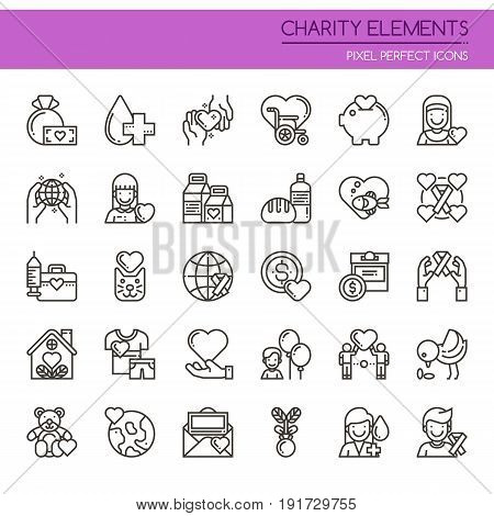Charity Elements , Thin Line And Pixel Perfect Icons.