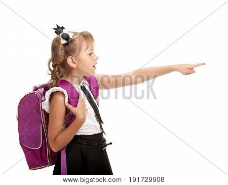 Little girl with schoolbag showing on smth on white background