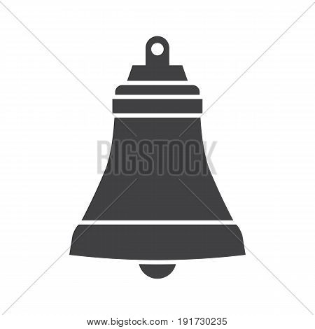 Ship bell vector illustration. Marine jingle icon isolated on white background. Nautical logo or label template.