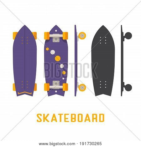 Purple shortboard skateboard bottom, top and side view. Vector skateboarding deck in flat and outline design.
