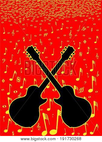 Music notation and silhouette guitar poster background