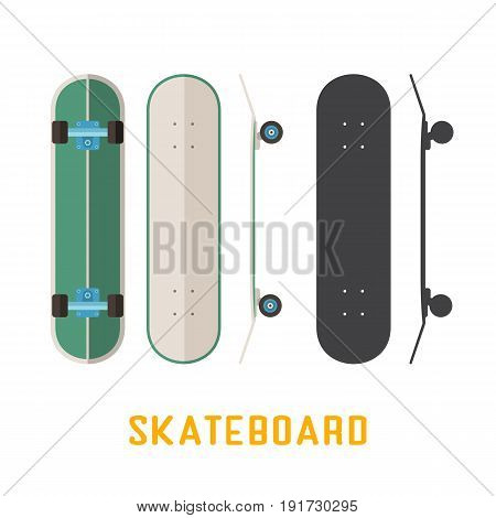 Green longboard skateboard bottom, top and side view. Vector skateboarding deck in flat and outline design.