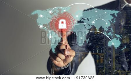 double exposure businessman is touching scan identity to open hologram and unlock data online global to link viral information cybersecurity technology background.