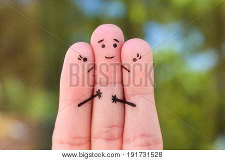 Fingers art. Concept of two women fight over one man.