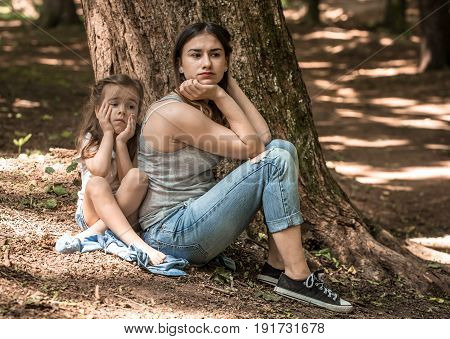 Sad Emotions Of A Girl With Her Mother