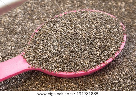 Chia seeds in pink spoon for healty people