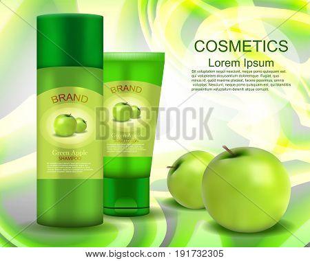 Shampoo. Body Lotion. Green Apple. Realistic. Cosmetics.