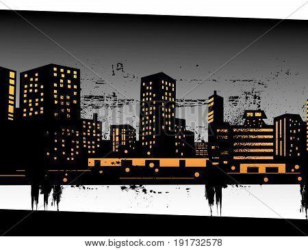Vector illustration of urban skylines art design