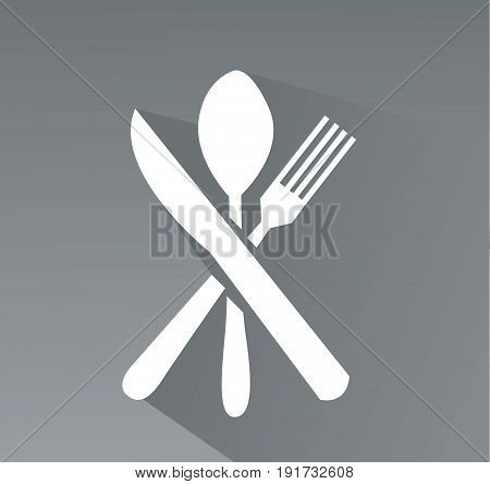 crossed fork, spoon and knife vector icon