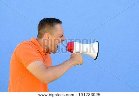 Man Screaming Through The Megaphone