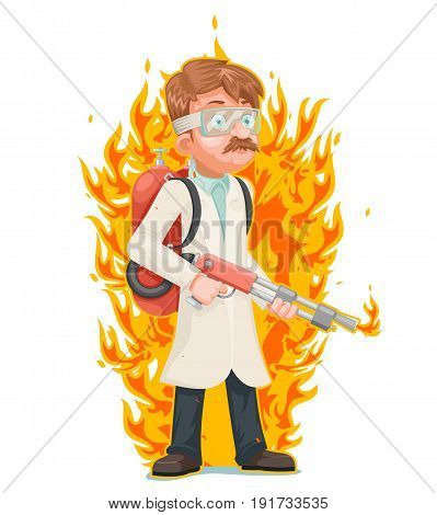 Mad scientist flamethrower cleansing purification by fire destruction science cartoon character vector illustration