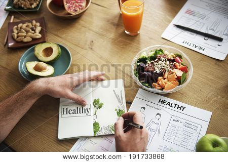 Illustration of vegetable and healthy eating lifestyle