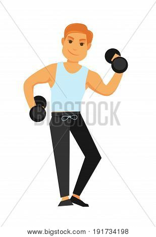 Fit redhead man in shirt and sports trousers and black shoes with heavy dumbbells does exercises isolated vector illustration on white background. Daily exercise that keep body in good physical shape.